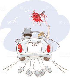 Wedding Images, Wedding Pics, Wedding Cards, Car Illustration, Illustrations, Just Married Car, Vector Art, Car Vector, Bride