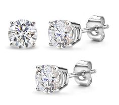 3.00 Carat Total Weight 7.50 mm Each Round Cubic Zirconia Earrings.Set On High Quality Heavy Settings. Nickel Free (Platinum Rhodium) Finish Price: $6.72