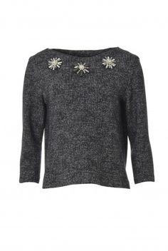 Tara Jarmon Paris - Pullover mit Kristallstein-Applikationen jetzt bei FashionVestis.com erhältlich.