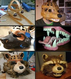 Here's a little overview how David created the head of Rocket. The base was build from Worbla and the details are made from foam and then everything was covered with fur. The teeth are sculpted with Fimo and the eyes are real glass eyes and hand-painted. Halloween Kostüm, Halloween Cosplay, Halloween Costumes For Kids, Diy Costumes, Costume Tutorial, Cosplay Tutorial, Cosplay Diy, Fursuit Tutorial, Rocket Raccoon Cosplay