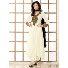 CREAM SUSMITA SEN SEMI STITCHED DESIGNER SALWAR KAMEEZ WITH CHIFFON DUPATTA. THIS CAN BE CUSTOMIZED UP TO 42 SIZE.