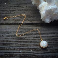 White Druzy Pendant Necklace by ArcherandBull on Etsy