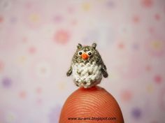 Super Tiny Owl, Gray 05 Fat Micro crochet miniatures collectibles toys, OOAK