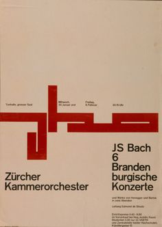 """Zürcher Kammerorchester"" Design: Gottlieb Soland (1956). Wow. Great dissection of space and the red abstract form is really interesting. Is it a deconstruction of Bach or just a graphic articulation of the grid?"