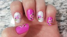 Unhas Pinks com flores!!!