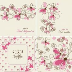 Hand-painted flowers card Background