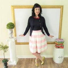 Pink and White Striped Hartley Skirt