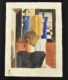 """Oskar Schlemmer Sketch for """"Römischen"""" 1925"""