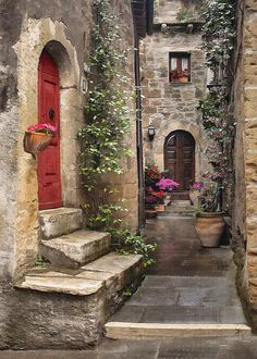 New York Discover Tarquinian Red Door by Sharon Foster Tarquinian Red Door Digital Art Italian Paintings, Cottage Art, Old Doors, Stone Houses, Beautiful Places In The World, Architecture, Landscape Paintings, Scenery, Photos