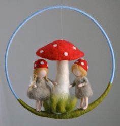 Children room decoration Waldorf inspired  mobile : by MagicWool