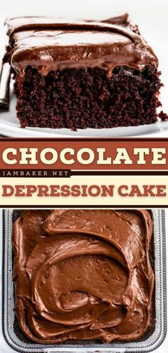 This Chocolate Depression Cake is a moist chocolate cake recipe made without milk, eggs, or butter. This easy dessert recipe is topped with a creamy chocolate frosting. Pin this easy-to-make sweet treat! Elegant Desserts, Desserts For A Crowd, Beautiful Desserts, Fancy Desserts, Chocolate Frosting, Chocolate Cake, Easy Impressive Dessert, Cake Recipes, Bolo De Chocolate