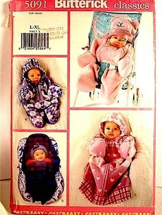 PATTERN-BUTTERICK-5091-BABY-BUNTING-BAG-HAT-LOOSE-FIT-4-STYLES-SIZE-L-XL