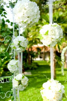 Victorian Classic White Wedding Arch Backdrop with Kissing Balls Closeup