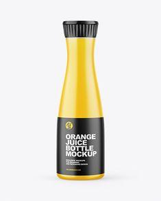 Orange Juice Bottle Mockup Juice Bottles, Glass Bottles, Drink Bottles, Orange Orange, Orange Juice, Natural Juice, Orange Drinks, Juice Packaging, Pet Bottle