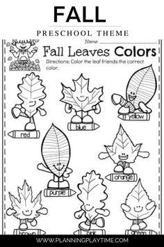 Fall Leaf Colors Preschool Worksheet.
