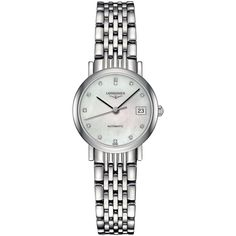 Longines Women's Swiss Automatic The Longines Elegant Collection... (€1.910) ❤ liked on Polyvore featuring jewelry, watches, no color, watch bracelet, stainless steel bracelet watch, longines watches, bracelet watch and stainless steel watches