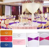 Spandex Stretch 50 Wedding Chair Cover Band Sashes With Buckle Bow Slider Decor Stretch Chair Covers, Party Chairs, Cover Band, Lace Table Runners, Chair Sashes, Wedding Bows, Wedding Chairs, Sliders, Bands