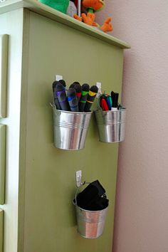 dry erase markers in hanging buckets.need this in my classroom! Classroom Organisation, School Organization, Classroom Decor, Classroom Management, Organizing, Marker Storage, Ikea, Dry Erase Markers, Getting Organized