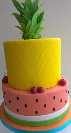 A watermelon pineapple cake