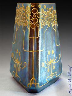 Antique Art Nouveau Loetz electric-blue glass vase by Harrach(?)