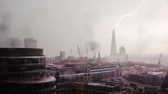 This is the spectacular moment lightning hit the top of the Shard building in London during a heavy storm.