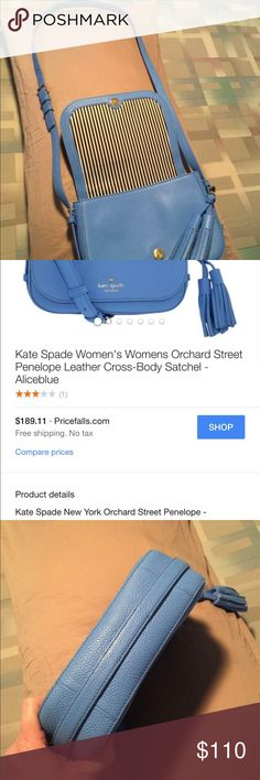 Reduced!!! Medium Kate Spade blue crossbody purse Nice medium blue leather Kate Spade purse. It's just been hanging in my closet ready for a new home!! kate spade Bags Crossbody Bags