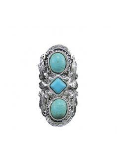 Anillo de tres piedras turquesa