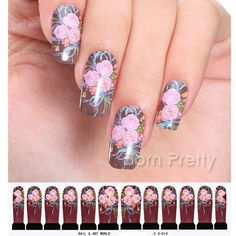 $1.19 Full Nail Water Decals Transfer Sticker Romantic Blue Painting Flower Pattern XF1405 - BornPrettyStore.com