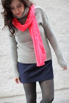 cozy and bright...chunky turtleneck sweater and wool mini, accented with a neon pink scarf and warm heather tights