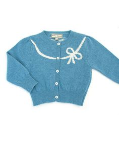 Take a look at this Darcy Brown Duck Egg Blue Bow Wool Cardigan - Infant by Darcy Brown on #zulily today!