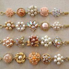 Pearl, Peach, Rhinestone, vintage earring bracelets, set of 4, bridesmaid, jewelry, bracelets, wedding, blush, coral, gold, cluster bracelet