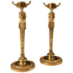 Pair of Neo Egyptian Candlesticks in Gilt Ormolu 1