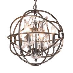 Add style and soft illumination to your entryway, dining room or any other area of your home with this Benita antique black globe chandelier. The iron bars encircle four beautiful chandelier lights entwined with crystal beads for a dazzling effect.