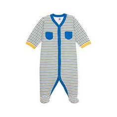 Petit Bateau US Official Online Store, Unisex baby striped tube knit crawler, lait medieval multico, Baby Sleepwear, 10739