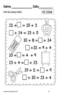 make an algebraic equation First Grade Math Worksheets, Second Grade Math, Grade 1, Math Classroom, Math Math, Math Addition, Math Stations, Math Centers, Teaching Math