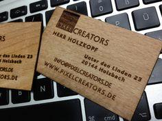 Visitenkarten aus Holz mit Lasergravur! Laser Engraving, Business Cards, Timber Wood