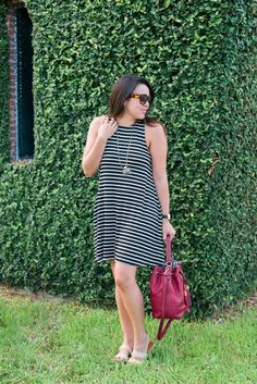 I love this striped trapeze dress! I can't believe it's only $35. The quality looks awesome and seriously perfect for hot summer days. The fact that it comes in quite a few colors and varieties is like the cherry top!