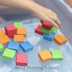 Foam blocks in water for sensory fine motor play for kids