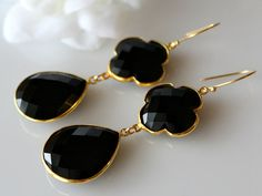 $98.00 Black Onyx  Double Drop Quatrefoil Earrings, Clover Earring, Jet Black Dual Dangle, Onyx Jewelry, Gold Vermeil, Black Gemstones on Etsy,
