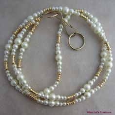 Ivory pearl and gold lanyard for your ID badge, keys, transportation pass and more!