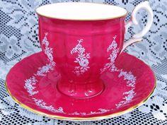 CROWN STAFFORDSHIRE WHITE ENAMEL FLORAL MAGENTA PINK TEA CUP & SAUCER | Antiques, Decorative Arts, Ceramics & Porcelain | eBay!