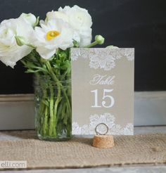 Free Rustic Lace Table Number Printables | The Elli Blog