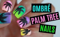 Neon Ombre Tropical Palm Tree Nails