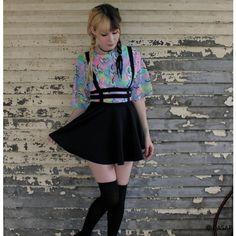 Punk A-line Suspender Skirt OASAP.COM ❤ liked on Polyvore featuring skirts, punk rock skirts, knee length a line skirt, beaded skirt, zipper skirt and cut out skirt