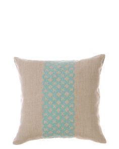 Classic Home Embroidered Decorative Pillow Set in Beige and Turquoise