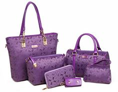 Women Tote Top Handle Shoulder Bags Satchel Purse and Handbag for Women Handbag +Crossbody+Purse+Wallet+Keychian 6 Piece Set Bags (Model 7-Purple) * READ REVIEW @ http://www.passion-4fashion.com/handbags/women-tote-top-handle-shoulder-bags-satchel-purse-and-handbag-for-women-handbag-crossbodypursewalletkeychian-6-piece-set-bags-model-7-purple/?a=8486