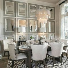 "1,580 Likes, 12 Comments - Grace R (@lovefordesigns) on Instagram: ""Craft an eye-catching focal point in the dining room with a wall of mirrors.... .…"""
