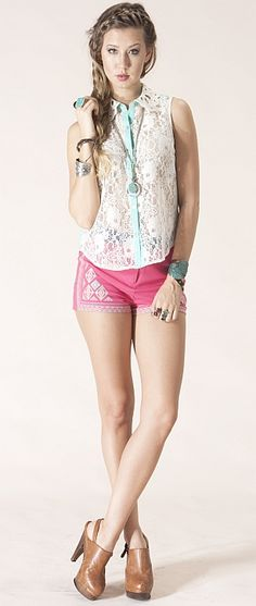 Sleeveless Boho Lace Shirt.. don't like the shoes though