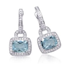 Aquamarine cushion shape with diamond set in White Gold Roma clip earrings. Total  diamond weight is approximately 0.50ct Total Aquamarine weight is approximately 3.73 ct Design Options    	This earring can be made in white, pink, yellow gold or two-tone.   Pricing Contact your local Frederic Sage Retailer for pricing information. Find your nearest Frederic Sage Retailer   Where to Buy