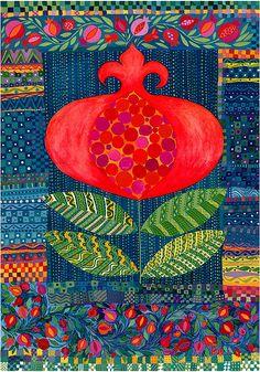 The Pomegranate. Giclée Print by Chanan Mazal, Jerusalem artist. Doodle Inspiration, Arte Judaica, Pomegranate Art, Flower Quilts, Guache, Art Textile, Jewish Art, Naive Art, Applique Quilts